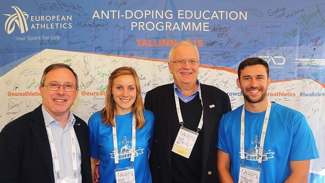 European Athletics President Svein Arne Hansen (second right) and vice-president Jean Gracia at the launch of the new anti-doping initiative in Tallinn