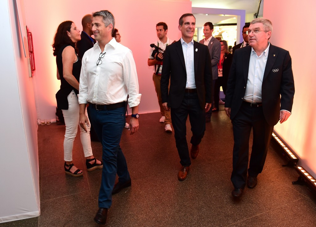 LA 2024 chairman Casey Wasserman, left, has described Eric Garcetti, centre, as the Bidding Committee's leading advocate since day one ©Getty Images