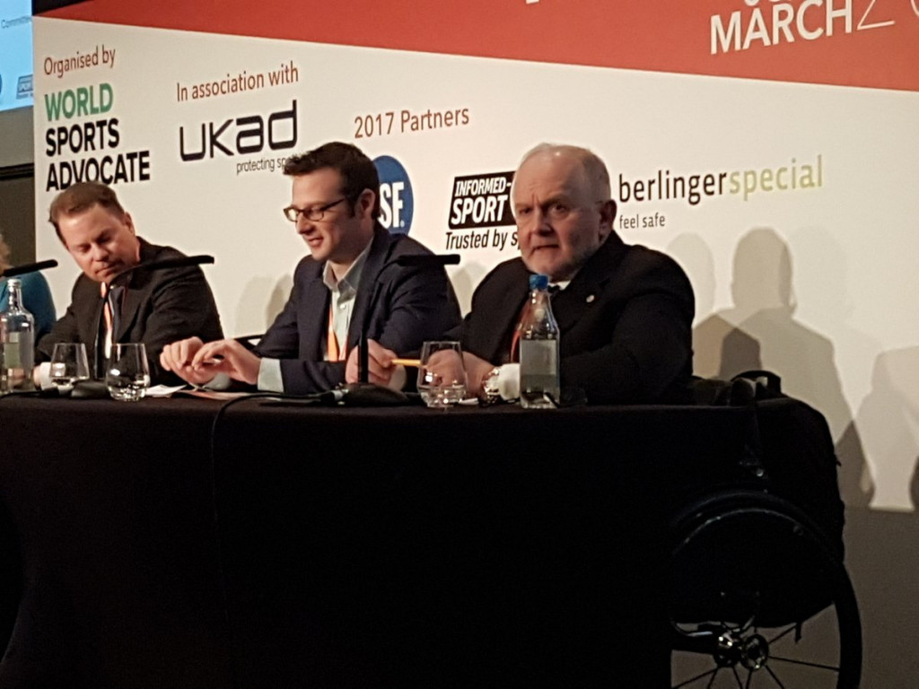 Adam Pengilly, centre, has reiterated calls for stricter compliance criteria for sporting bodies ©IPC/Twitter
