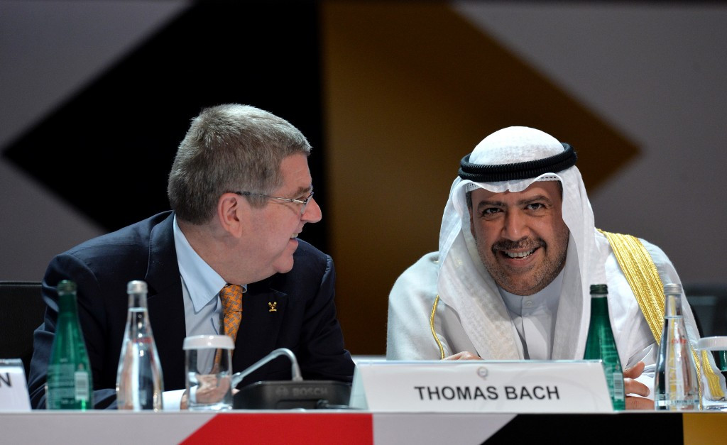 Kuwaiti powerbroker Sheikh Ahmad Al-Fahad Al-Sabah, pictured, right, with IOC President Thomas Bach, is thought to be assessing the popularity of the idea before deciding either way ©Getty Images