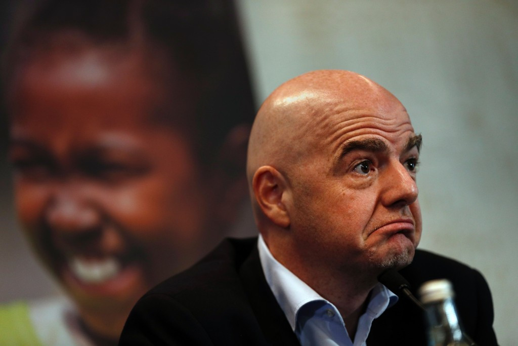 FIFA President Gianni Infantino declined to directly mention Vitaly Mutko when asked at a press conference yesterday ©Getty Images