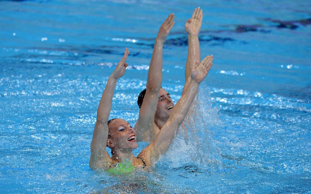 Italy's Manila Flamini and Giorgio Minisini won the technical mixed duets event ©Getty Images