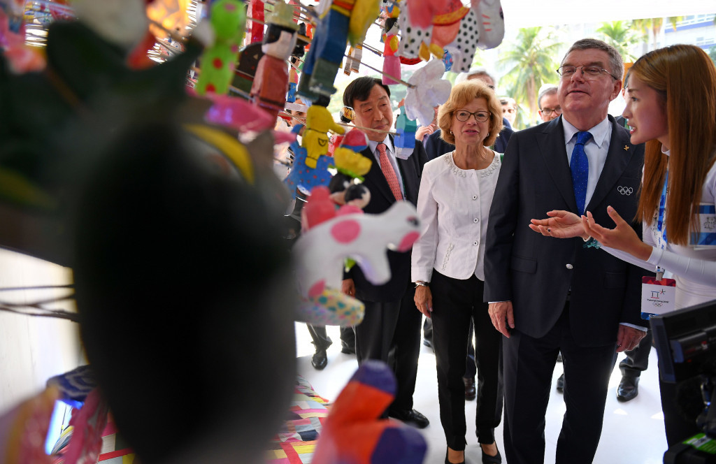Thomas Bach, pictured attending a Pyeongchang-themed exhibition on Copacabana Beach during Rio 2016, is reportedly due to receive an honorary doctorate before the IOC Executive Board meeting opens ©Getty Images