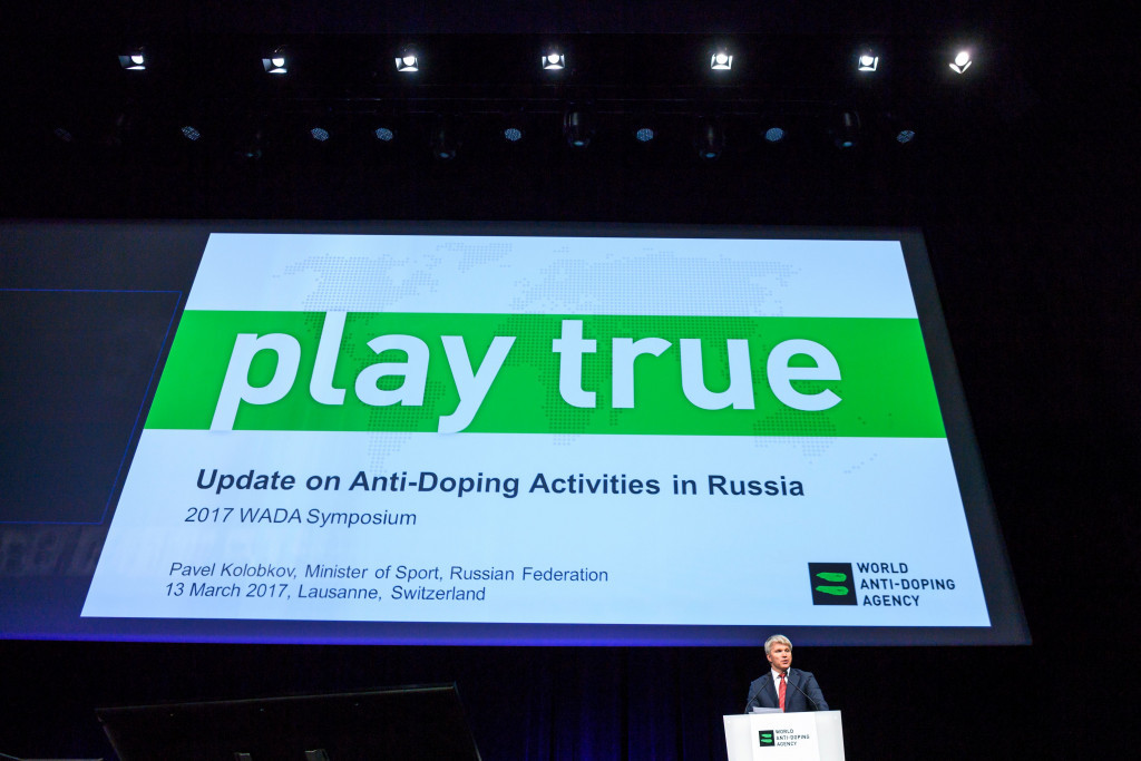 Travis Tygart was speaking at the WADA Annual Symposium, which was also attended by Russian Sports Minister Pavel Kolobkov ©Getty Images