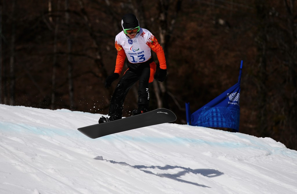 The Netherlands' Chris Vos was among the winners today in the Para Snowboard World Cup Finals on the Paralympic course for Pyeongchang 2018 today ©Getty Images