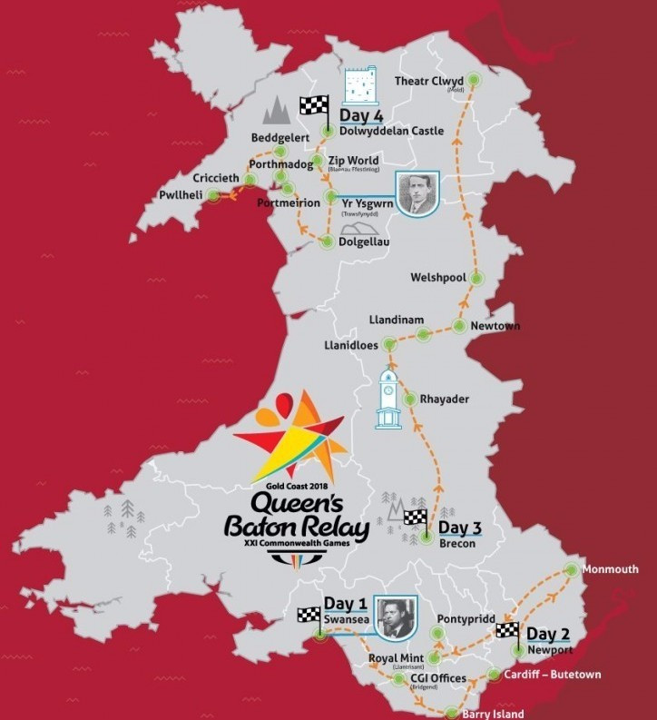 Commonwealth Games Wales have confirmed the route for their leg of the Gold Coast 2018 Baton Relay ©CGW