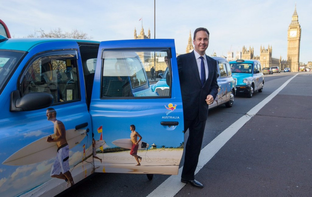 Gold Coast 2018 promoted on black London cabs