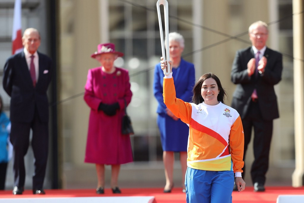 Australia's track cycling great Anna Meares received the Baton after The Queen's message was inserted ©Getty Images