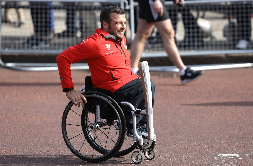 Australian Paralympian Kurt Fearnley delivered the Baton to Buckingham Palace ©Getty Images