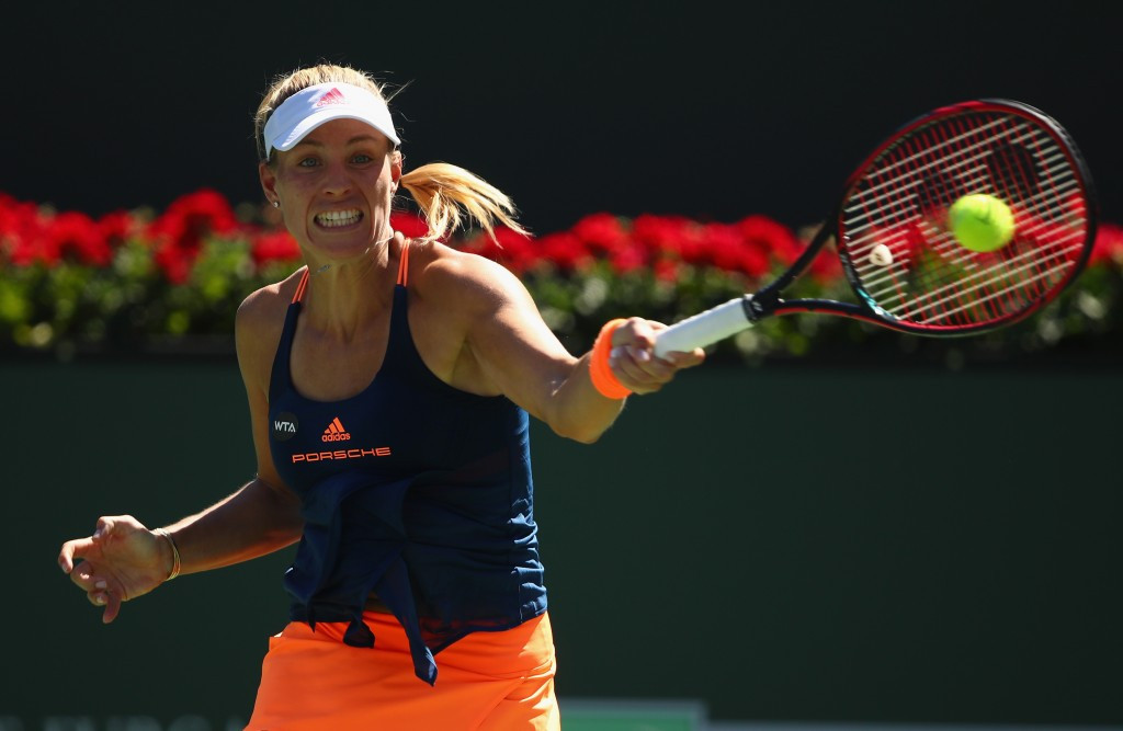 Angelique Kerber, pictured, beat Pauline Parmentier of France at the Indian Wells Masters today ©Getty Images