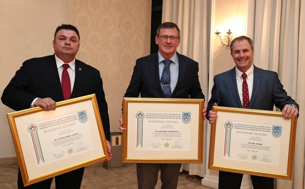 IJF honour trio of judo referees in Baku