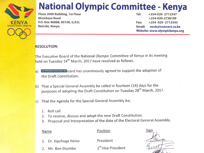 The National Olympic Committee of Kenya Executive Board backed down in favour of the new constitution today ©ITG