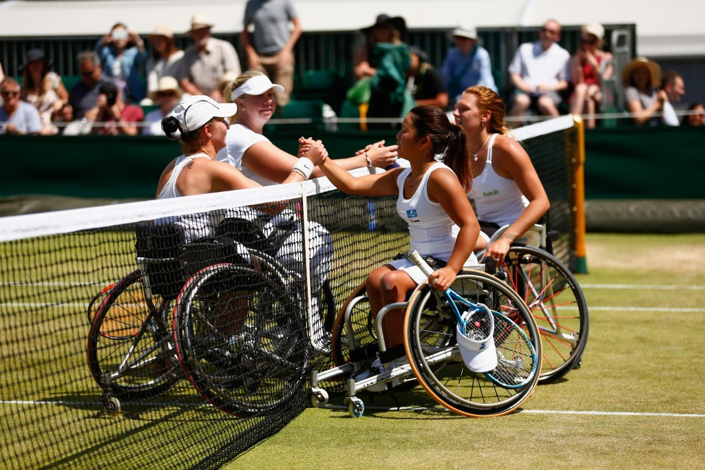 Yui Kamiji of Japan and Jordanne Whiley of Great Britain celebrate reaching the final of the Wimbledon ladies' wheelchair doubles final, where they will Dutch pair Jiske Griffioen and Aniek van Koot ©Getty Images