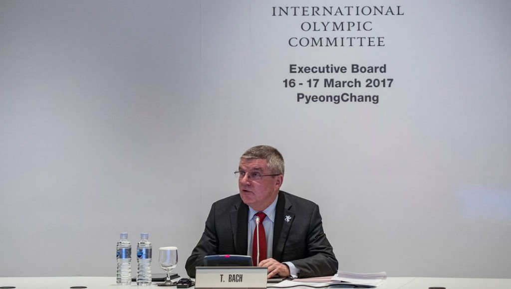 IOC President Thomas Bach spoke following today's Executive Board meeting ©IOC