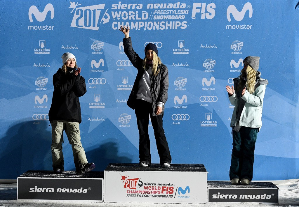 Austria's Anna Gasser claimed her maiden global crown at the FIS Freestyle Ski and Snowboard World Championships in Sierra Nevada today after winning the women's big air competition ©Getty Images