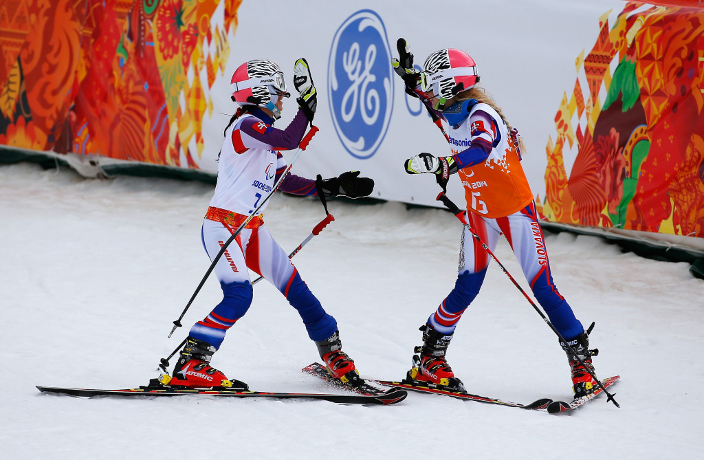 Henrieta Farkasova, left, of Slovakia has won the overall World Cup title with her guide Natalia Subrtova, right ©Getty Images