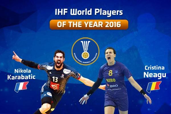 Nikola Karabatic, left, and Cristina Neagu, right, have been named the 2016 IHF men's and women's Players of the Year ©IHF