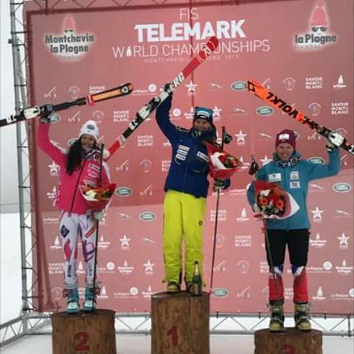 Switzerland's Amelie Reymond made it a hat-trick of gold medals at the FIS Telemark World Championships after winning the women's sprint event on the final day of action in French resort La Plagne ©Amelie Reymond/Facebook