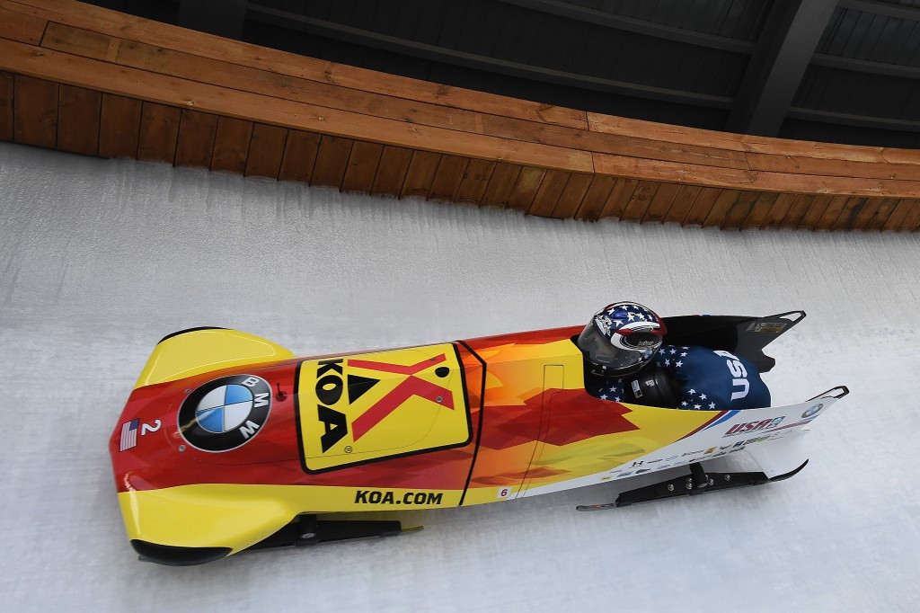 The United States' Jamie Greubel Poser and brakewoman Aja Evans clinched the overall women's bobsleigh World Cup ©Getty Images