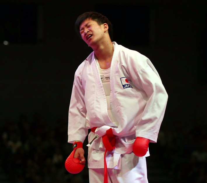 Ryutaro Araga reached the final of the under 84kg competition at the Karate 1-Premier League event in Rotterdam today ©Getty Images