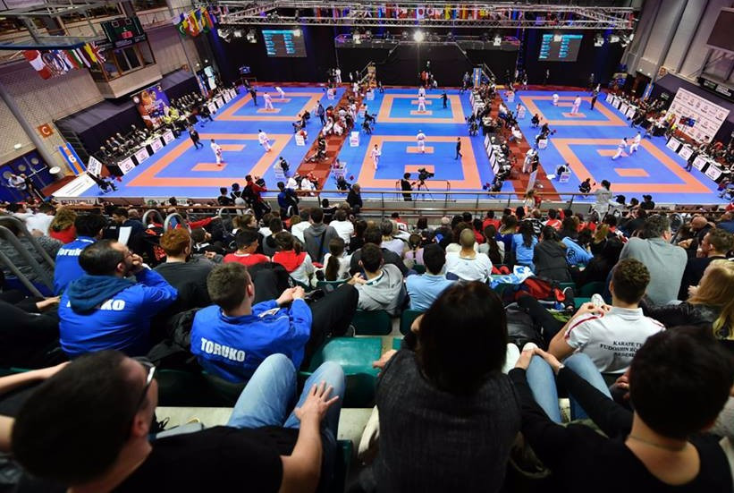 Action took place across seven weight categories at the Topsportcentre sports hall today ©WKF