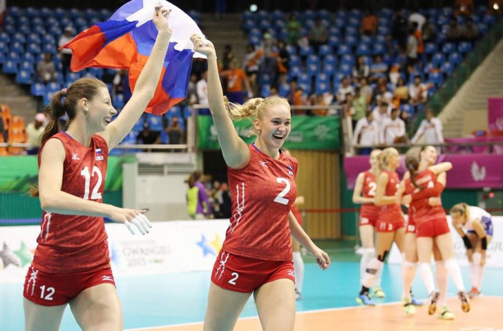 Russia celebrate gold in volleyball today at Gwangju 2015 ©Gwangju 2015