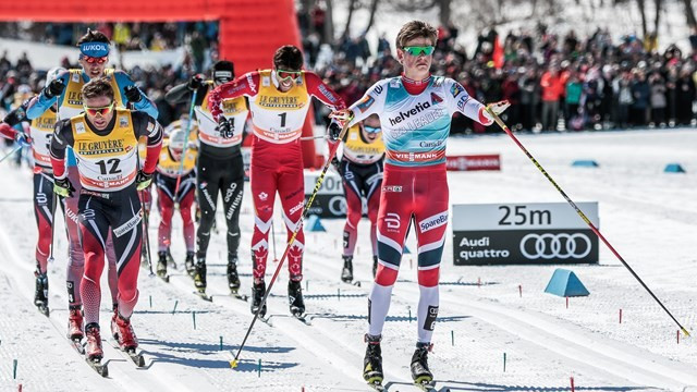 Johannes Hoesflot Klaebo, front, won the first FIS Cross-Country World Cup distance race of his career today ©FIS