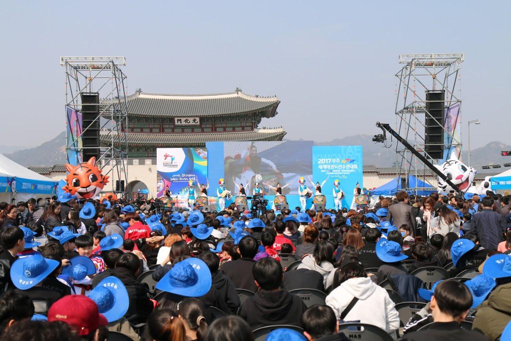 Organisers staged a taekwondo-themed festival in Gwangwhamun, in central Seoul ©WTF