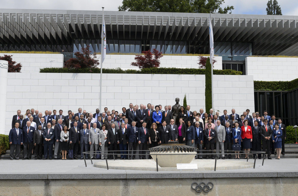 IOC members pictured outside the Olympic Museum in Lausanne during the Candidate City Briefing in the 2022 Winter Olympic race, a contest ultimately won by Beijing ©Getty Images