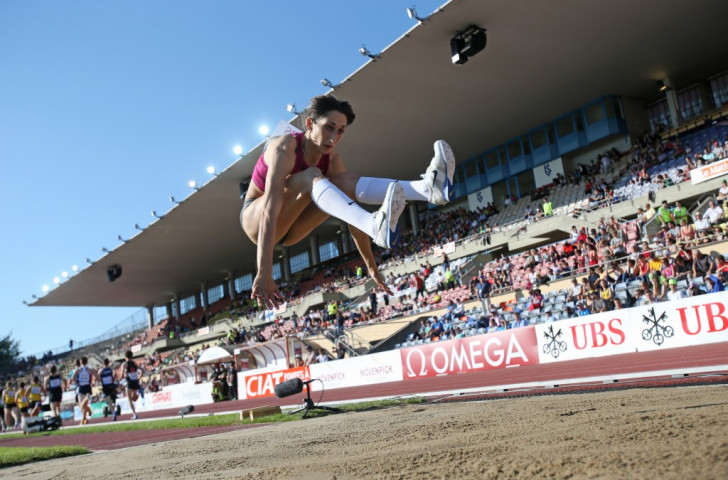 US triple jumper Mabel Gay in action at the not-too-large, not-too-small Stade De La Pontaise which is marked down for demolition
