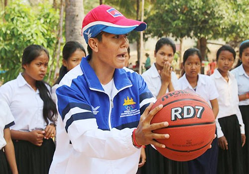 Olympic wrestler aids National Olympic Committee of Cambodia school event