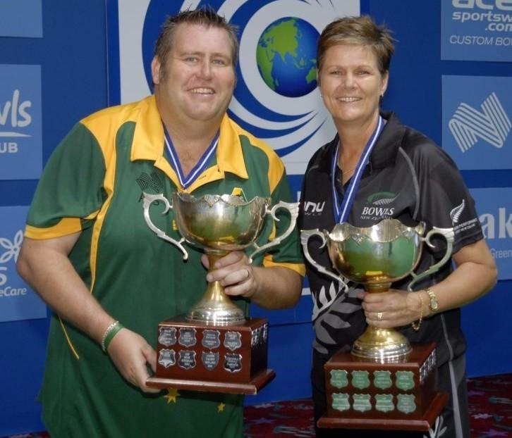 Jeremy Henry, left, and Jo Edwards have claimed World Cup titles ©World Bowls