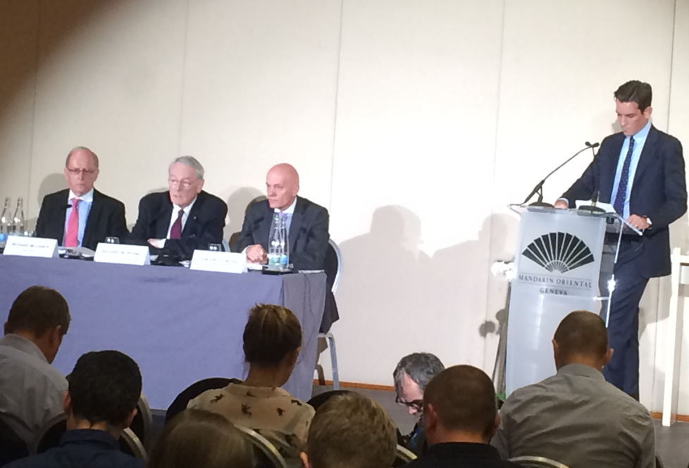 Ben Nichols, right, pictured speaking during the unveiling of the Pound Report into Russian doping in 2015 ©WADA