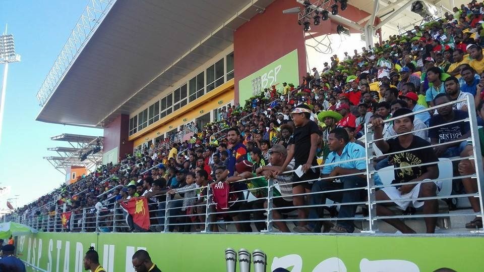 A decent-sized crowd flocked to the Sir John Guise Stadium to catch a glimpse of the shorter format of the country's national sport ©Justin Tkatchenko/Facebook