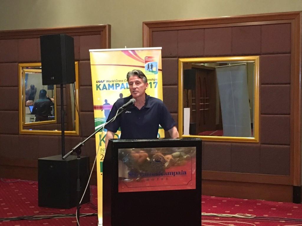 IAAF President Sebastian Coe addresses the pre-event press conference in Kampala ©IAAF Twitter