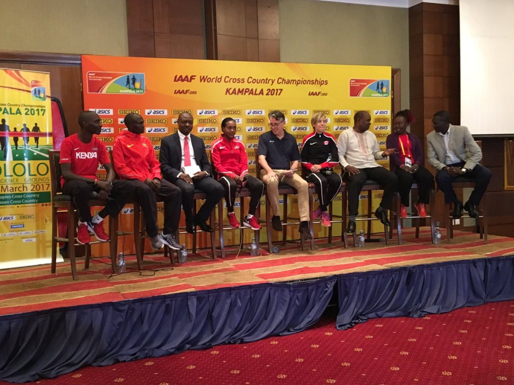 IAAF President Sebastian Coe, centre, and Tegla Loroupe of Kenya, second right, at the pre-event press conference in Kampala  ©IAAF Twitter
