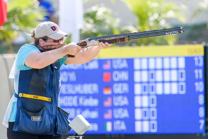 American veteran Kimberley Rhode secured the 10th World Cup gold medal of her career ©ISSF