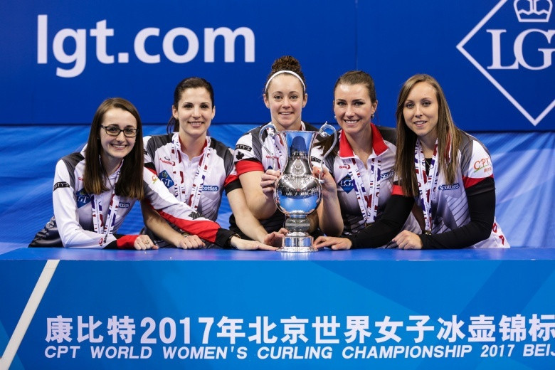 Unbeatable Canada lift World Women's Curling Championship trophy in Beijing