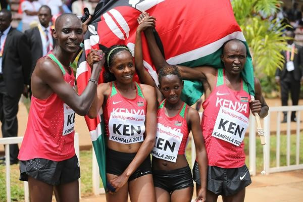 Kenya's victorious team in the first ever mixed relay event at the IAAF World Cross Country Championships, with triple world 1,500m champion Asbel Kiprop, left ©IAAF