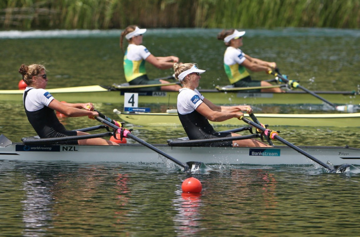 New Zealand's Eve McFarlane and Zoe Stevenson move towards victory in the women's double sculls at the Lucerne World Cup