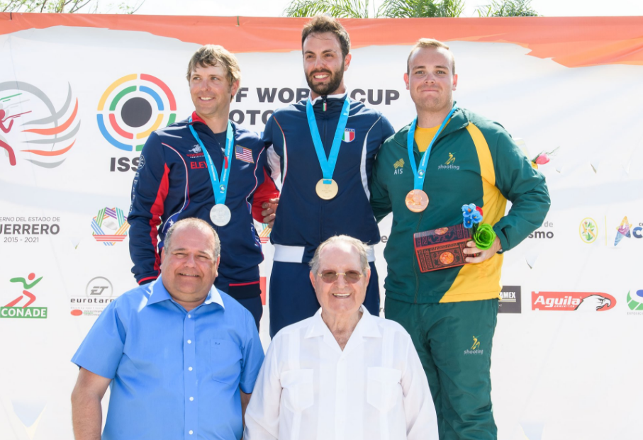 Marco Sablone, centre, clinched the final gold medal of the World Cup ©ISSF