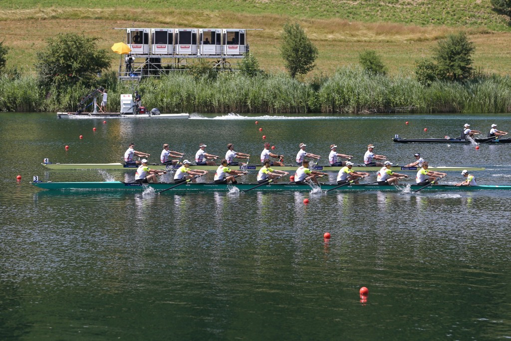 Olympic champions Germany (front) competes with Britain in the men's eight during the World Cup in Lucerne