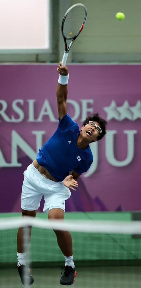 Away from athletics, Chung Hyeon was among the home winner today in men's singles tennis ©Gwangju 2015