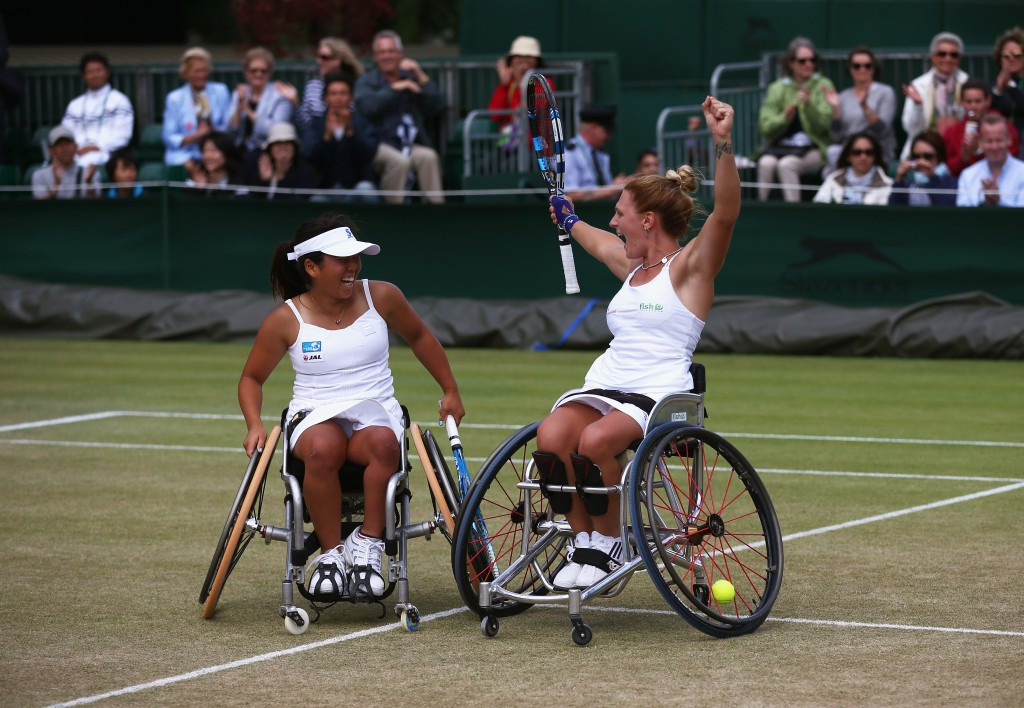 Britain's Jordanne Whiley and Japan's Yui Kamiji celebrate retaining their Wimbledon ladies' wheelchair doubles title ©Getty Images