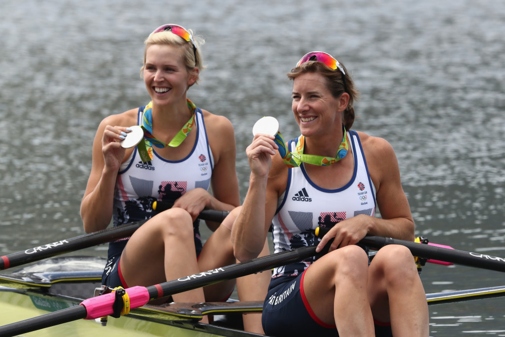 Dame Katherine Grainger, right, partnered Victoria Thornley, left, to double sculls silver at the Rio 2016 Olympic Games ©Getty Images