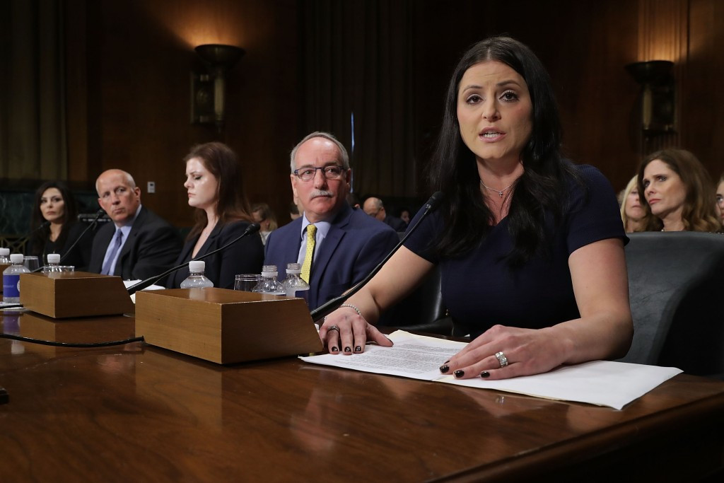 Dominique Moceanu, right, was one of three former members of the United States national gymnastics team to testify to a Senate Committee ©Getty Images