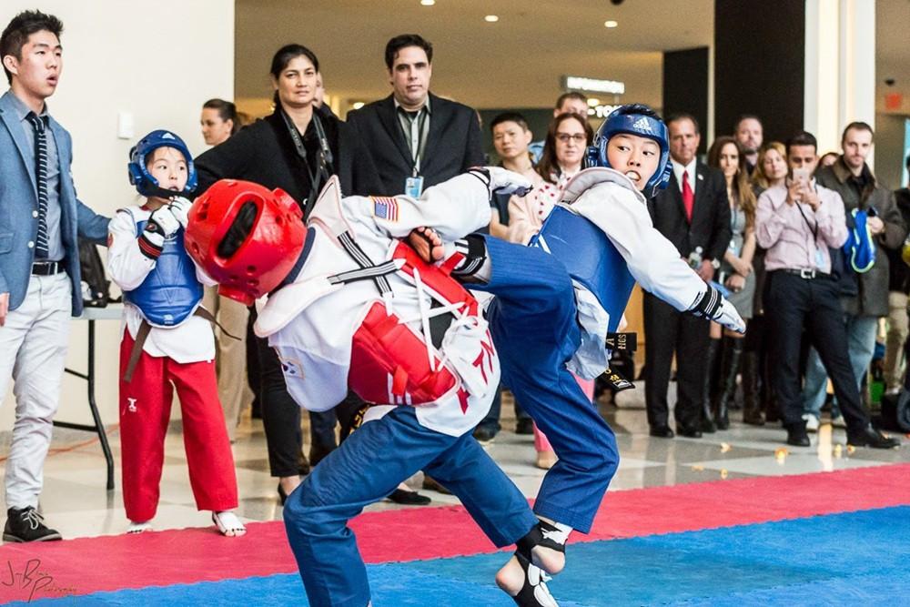 The taekwondo demonstration team performed a