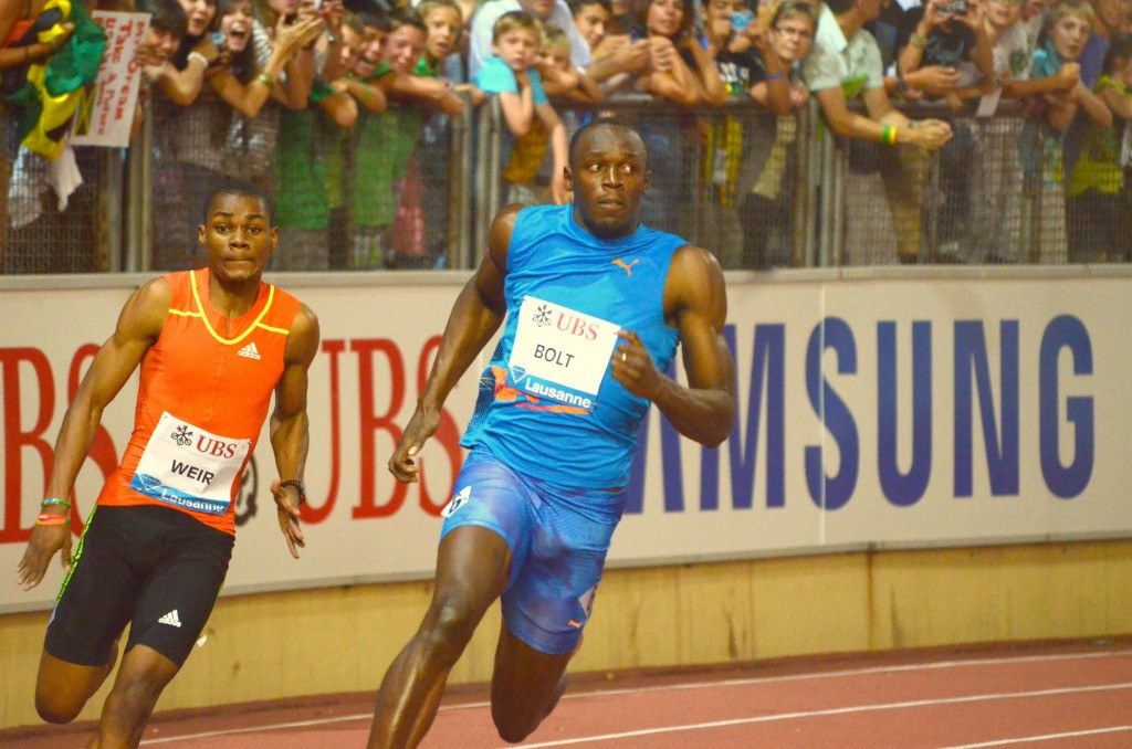 Usain Bolt tamed the tight bends at the Stade De La Pontaise in 2012 to win the 200 metres