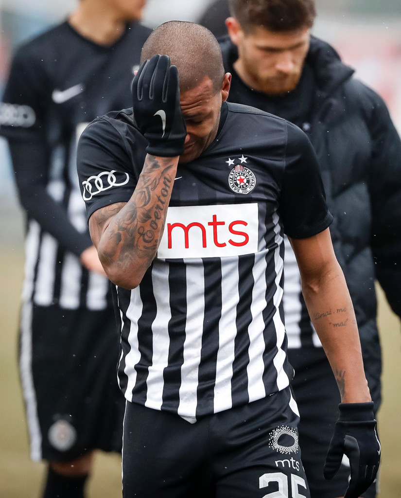Brazilian midfielder Everton Luiz, who plays for Partizan Belgrade, left the pitch in tears after persistent racist chants were directed at him during his side's win over Rad last month ©Getty Images