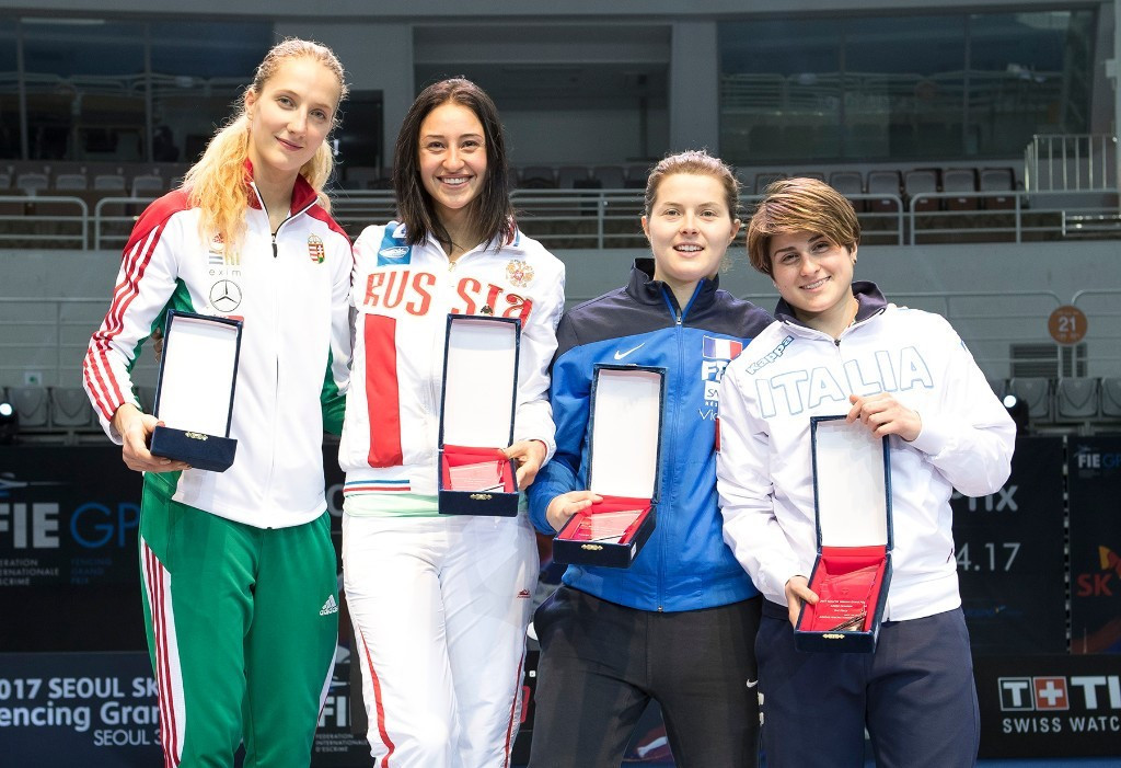 Rio 2016 Olympic gold medallist Yana Egorian, centre, left, of Russia won her third FIE Sabre Grand Prix title today ©FIE